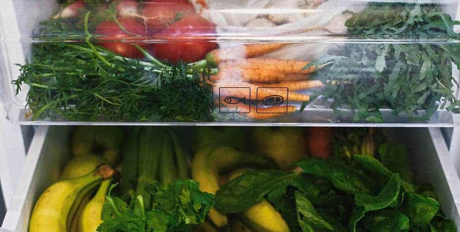 fruits and vegetables in a fridge