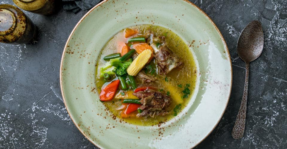 beef broth with meat and potatoes