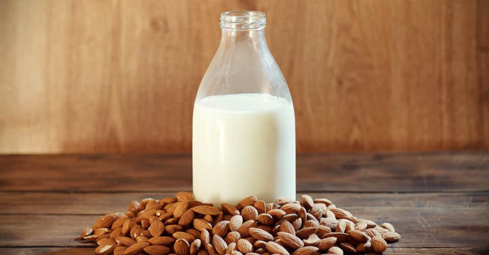almond milk in bottle