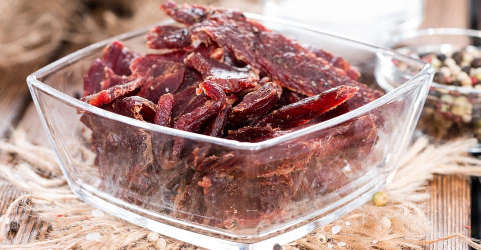 beef jerky in container