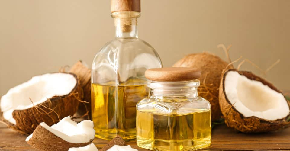 bottle and jar of coconut oil