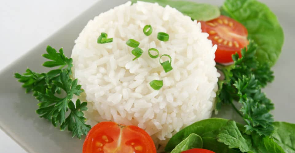 cooked rice with salad