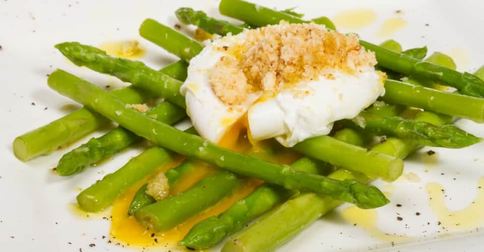 fresh salad with asparagus eggs and croutons
