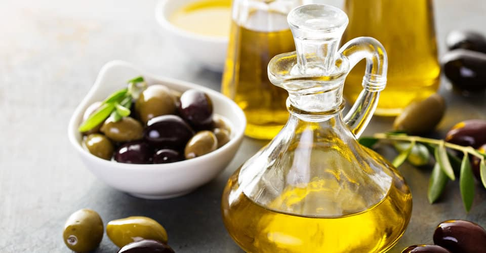 olive oil in glass containers