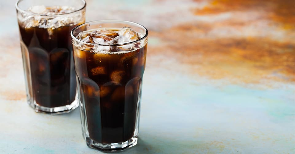 two glasses of soda