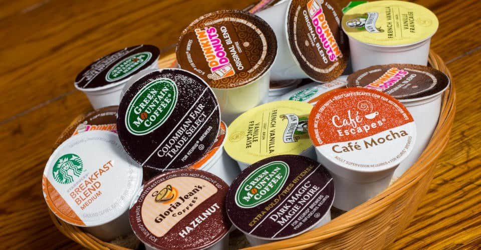 K Cup coffee pods in round container