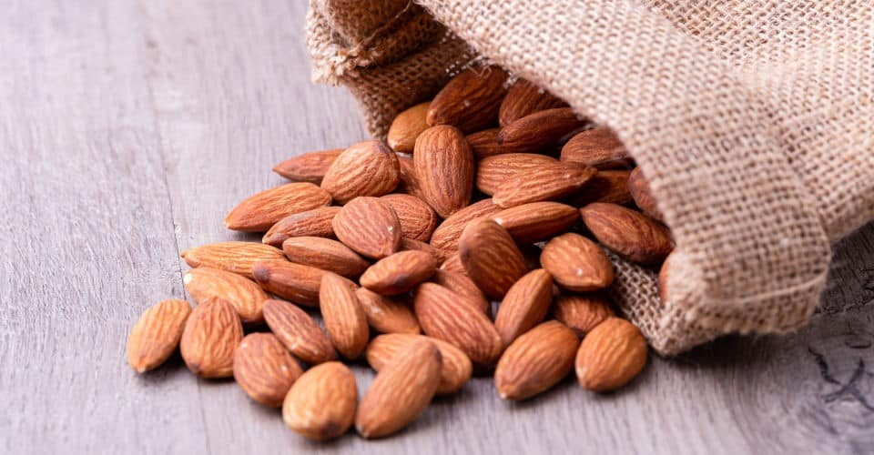 almond nuts in sack