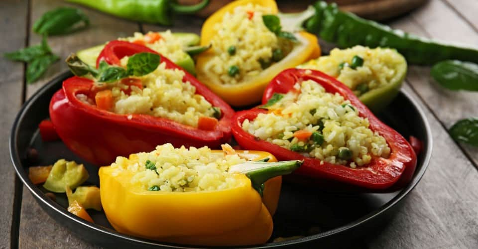 bell peppers stuffed with rice and vegetables