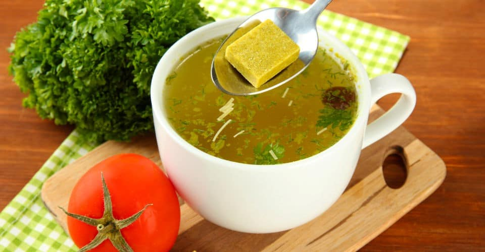 cup of soup with bouillon cube