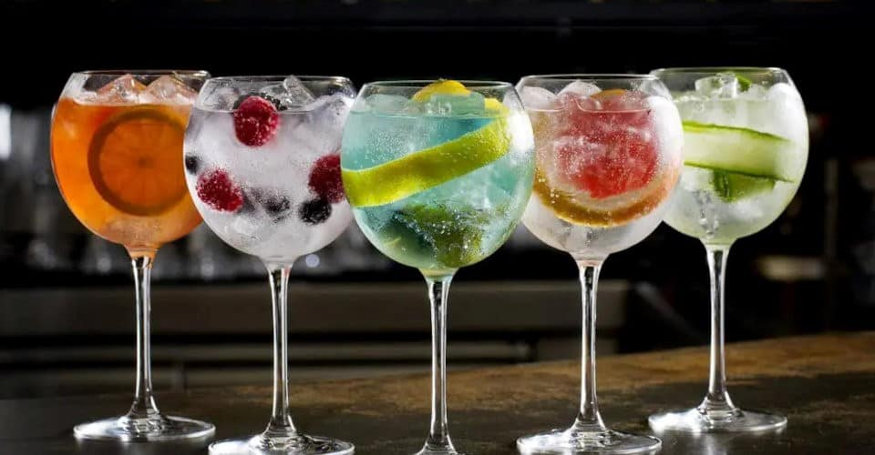 gin and tonic in glasses