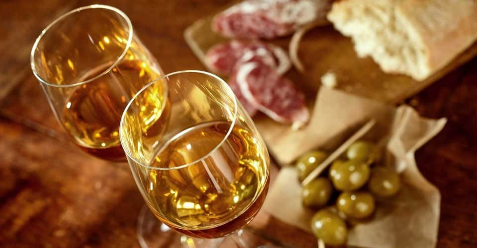 glasses of sherry next to food