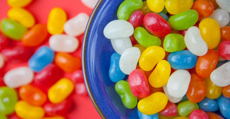 jelly beans in blue bowl