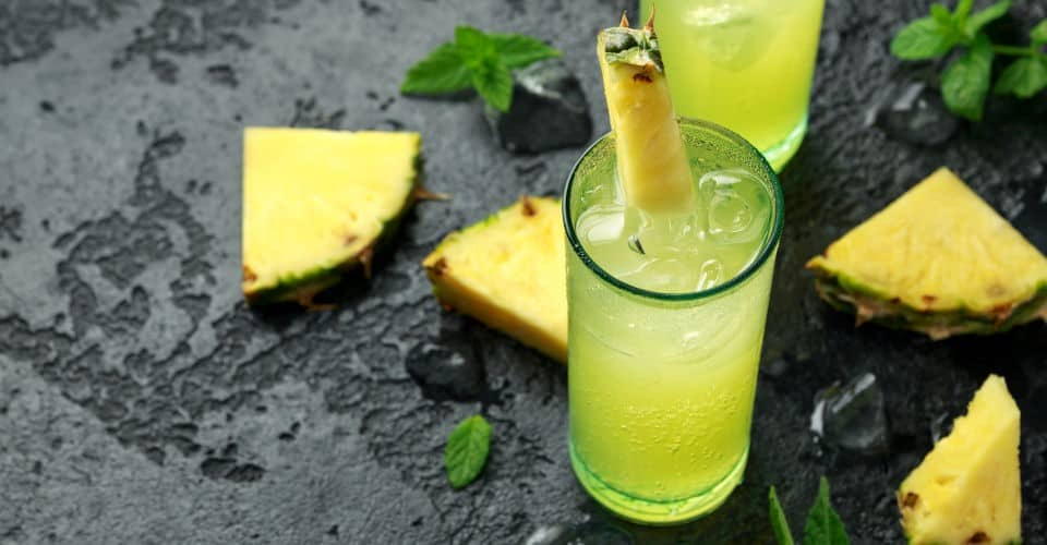 Malibu rum coconut cocktail with pineapple