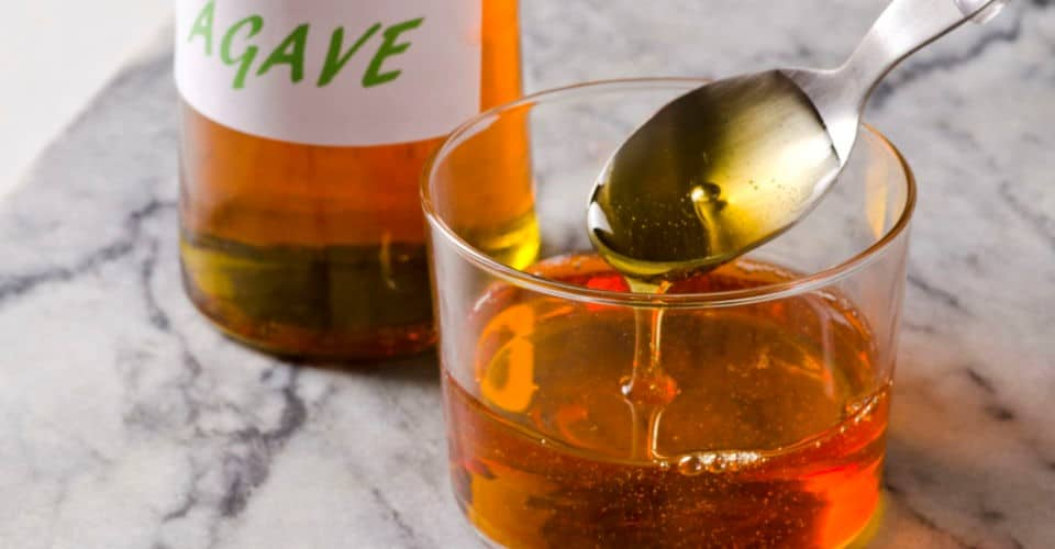 agave nectar in bottle and glass