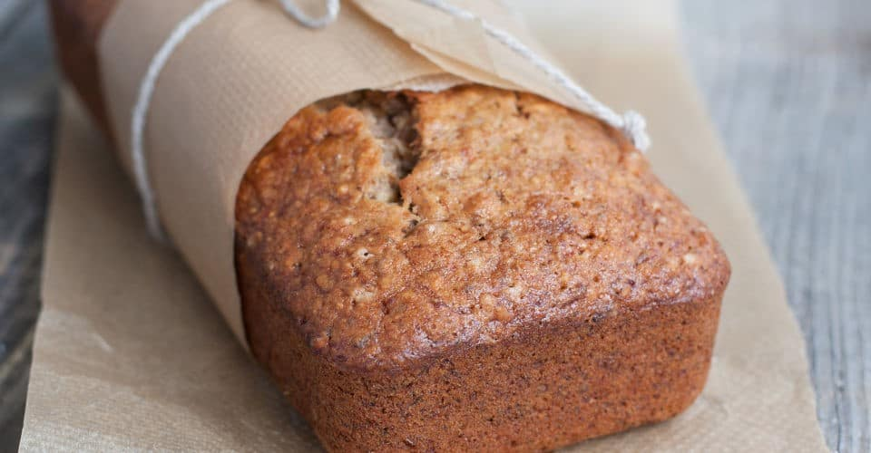 banana bread in baking paper