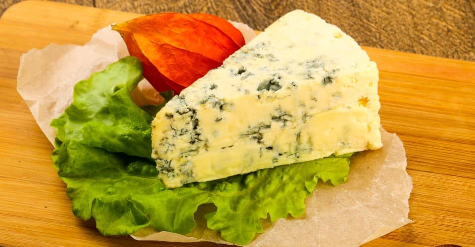 blue cheese with salad leaves