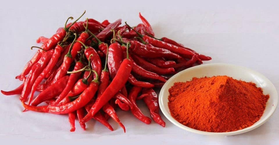 chili powder in bowl and bunch of chili pepper