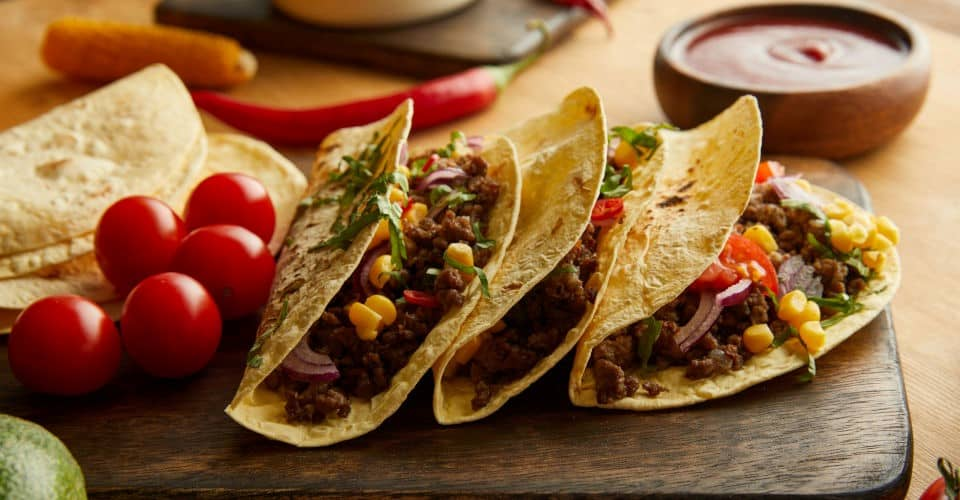 tacos with ground meat and vegetables